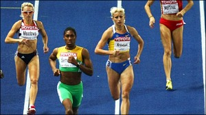 Caster Semenya winning the 800m Gold Medal in Berlin